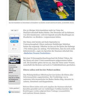 In Deutschland filmte ein Schwimmlehrer Mädchen unter Wasser...
