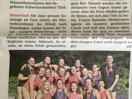 Die Wasserballerinnen werden zum 3. Mal in Folge Schweizermeister