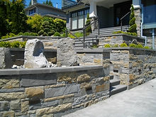 Bluestone retaining walls, after efflouresence removal and sealing with StainProof.