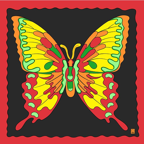 """Art Picture Silks - Flame Butterfly 36"""" x 36"""""""