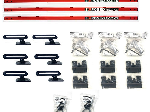 """EXR 'CAMPER-9764' Red Crossbars - (3) 48"""" Click-In bars, 2.46"""" above Rails"""