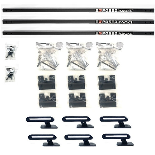 """EXR 'CAMPER-9664' Black Crossbars - (3) 48"""" Solid bars, 2.46"""" above Rails"""