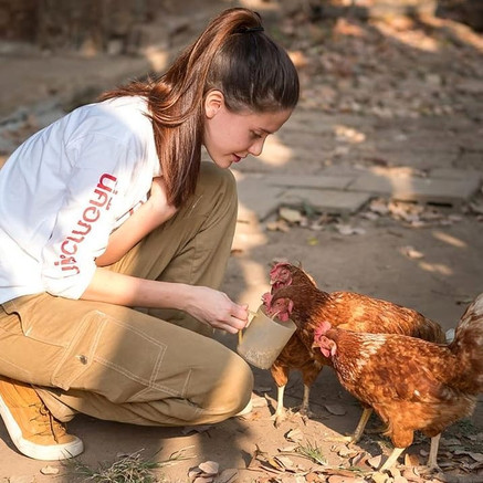 Maria with Chickens