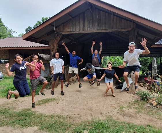 Visitors Jumping for Joy