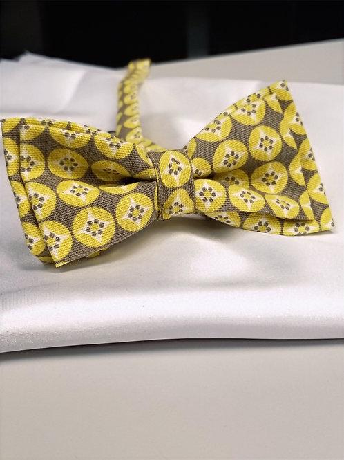 Yellow & Gray Double Bow Tie