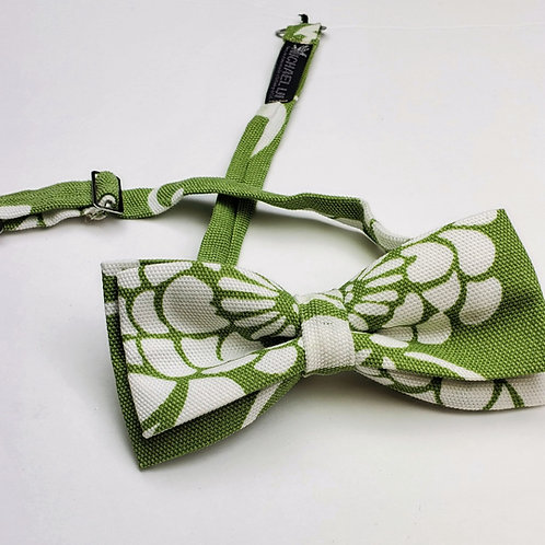 Bow Tie - Lt. Olive & White Abstract