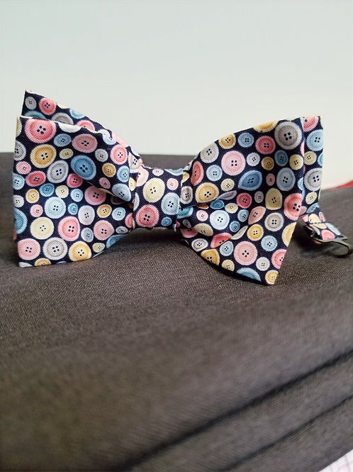 Buttons Double Bow Tie