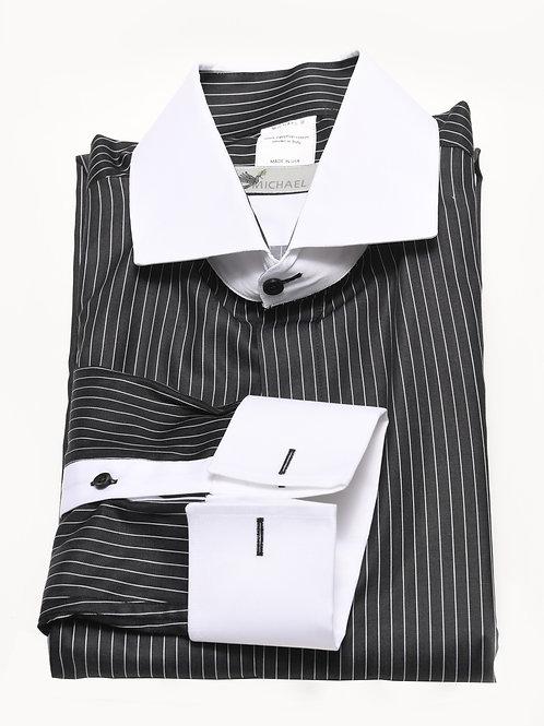 Black White Stripe White Collar Cuff