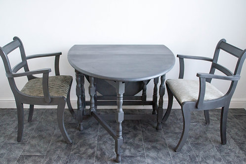 Drop Leaf Gate Leg Table & 2x Carver Chairs - Graphite Grey