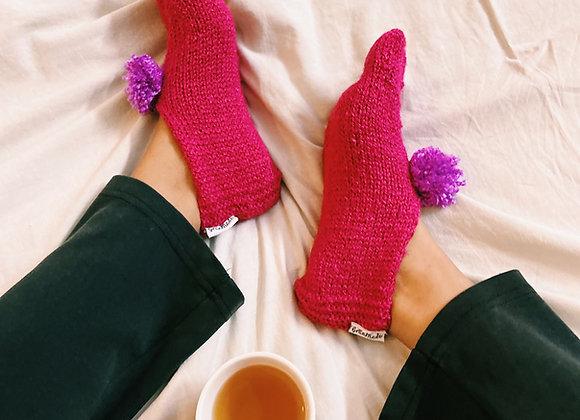 Pink Hand-knit Socks