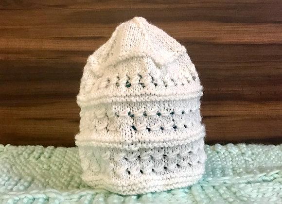 Intricate White Hand-knit Beanie