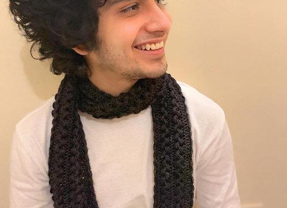 Black Hand knit U-pin Scarf