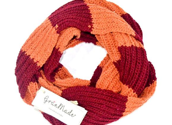 Peach Maroon Hand Knit Infinity Scarf