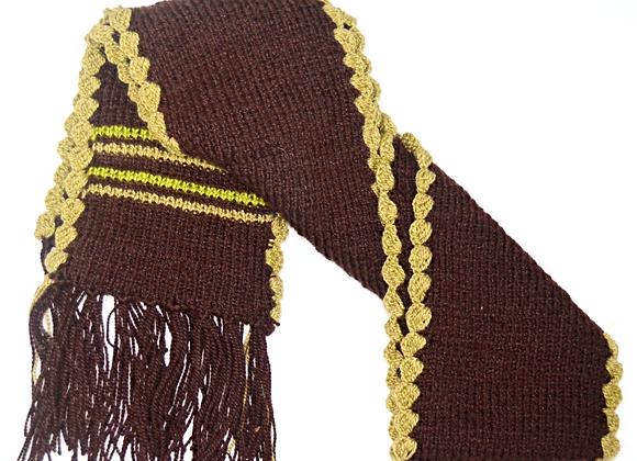Brown & Beige Hand-knit Scarf