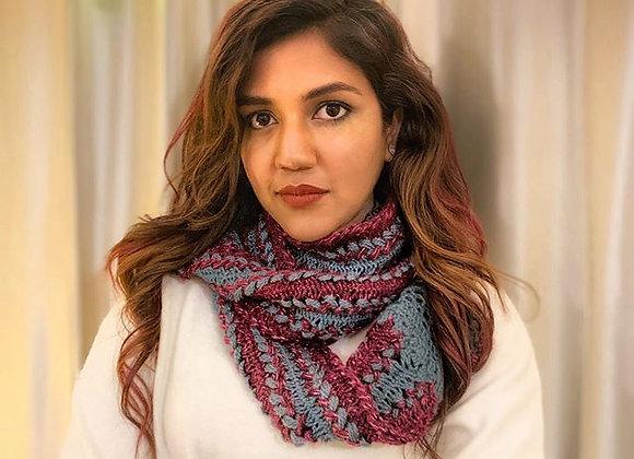 Wine Grey U-pin Hand knit Scarf