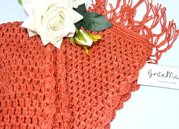 Orange Hand knit Crochet Scarf