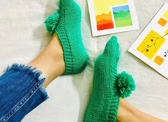 Green Hand-knit Socks