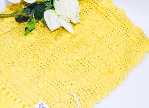 Yellow Hand knit Crochet Shawl