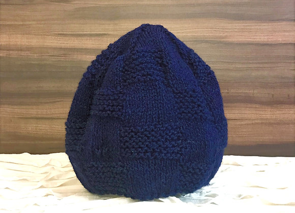 Navy Blue Brick Hand-knit Beanie