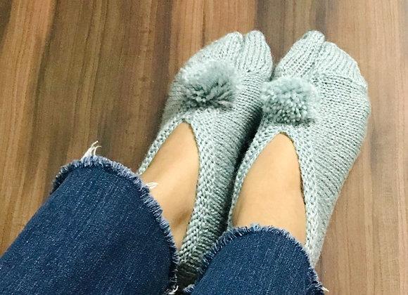 Grey Hand-knit Socks