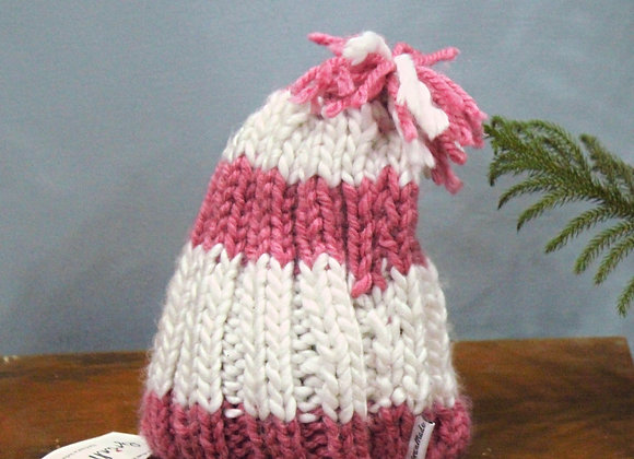 White & Pink Chunky Hand-knit Beanie