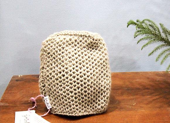 Beige Honeycomb Hand Knit Beanie