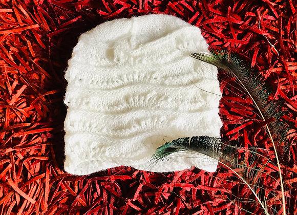 White Hand-knit Beanie
