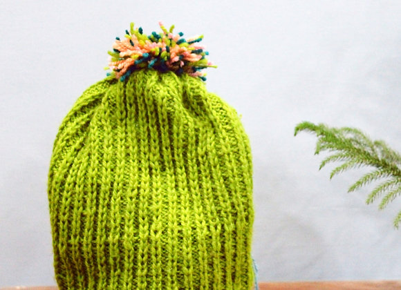 Bubbly Parrot Green Hand-knit Beanie
