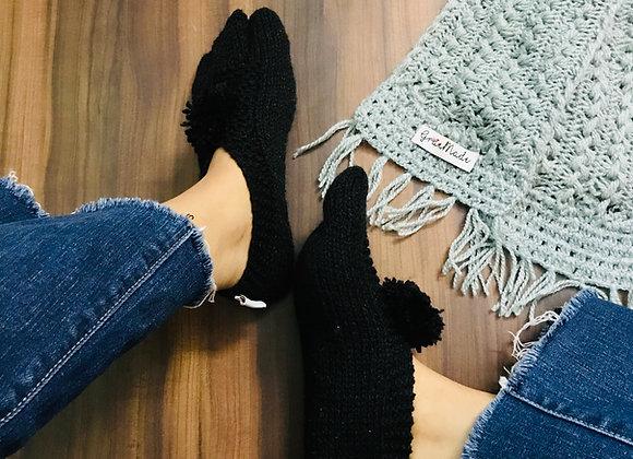 Black Hand-knit Socks