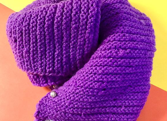 Purple Pearl Hand-Knit Infinity Scarf
