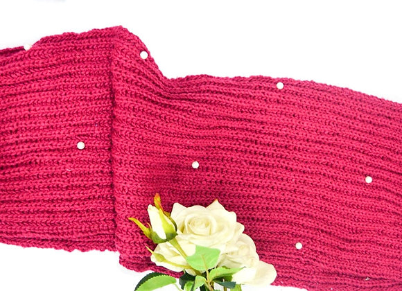 Pink Pearl Hand knit Infinity Scarf