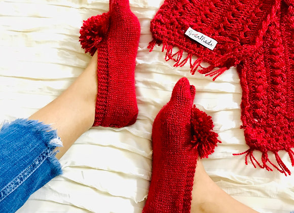 Red Hand-knit Socks