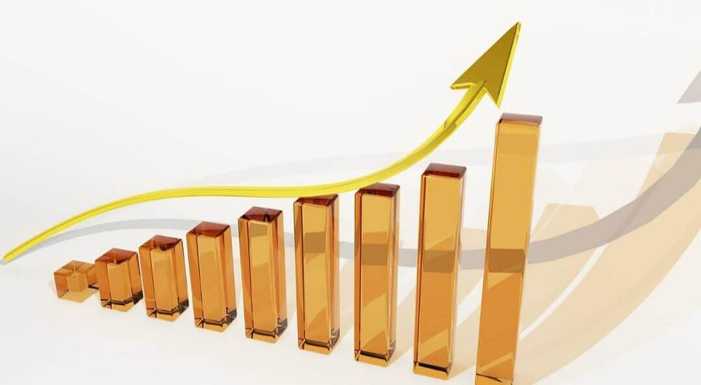 Grafico de crescimento- barras- seta subindo