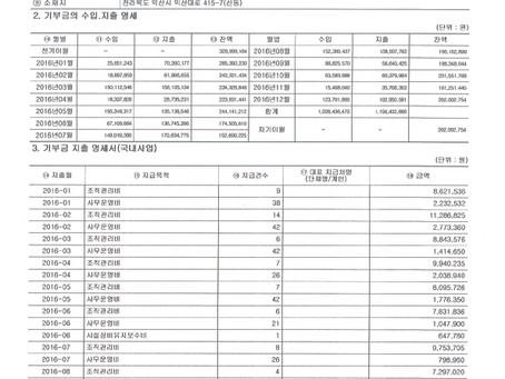 삼동인터내셔널 2016년 기부금 명세서