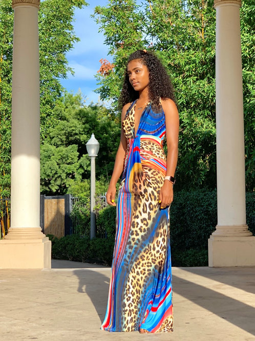 Animal Pattern Tie Dye Maxi Dress