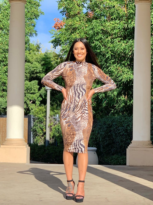 Animal Print Long Sleeve Bodycon Dress