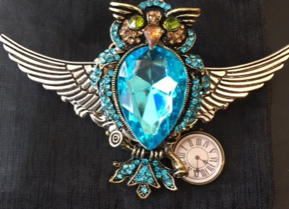 Steampunk Turquoise Owl Brooch