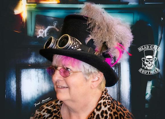 Custom Pink & Black Top Hat (inc goggles)