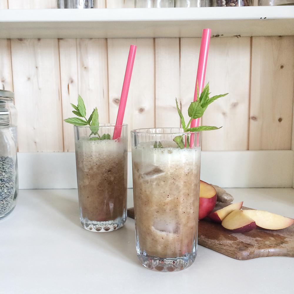 Nectarine, Ginger & Mint Crush Mocktail