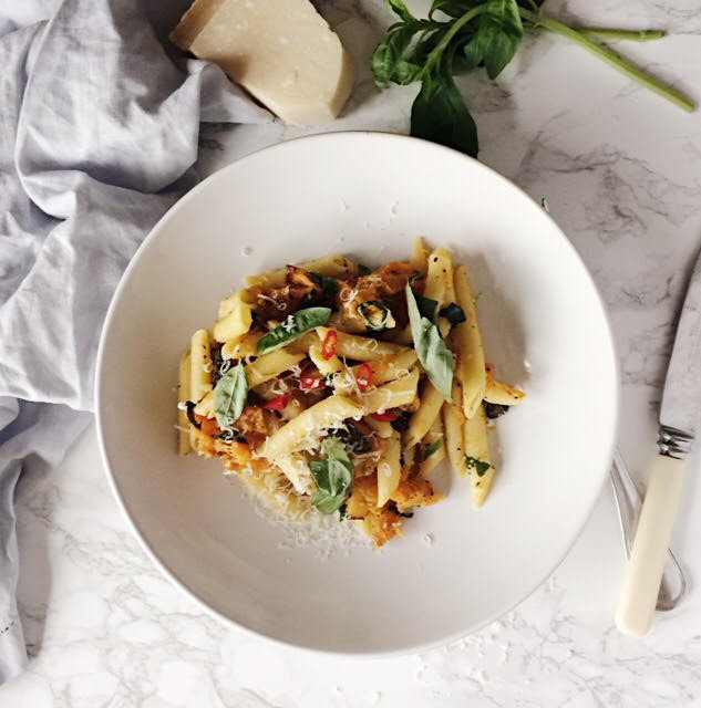 Butternut Squash and Black Olive Pasta