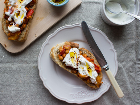 ROAST PEPPERS & CHICKPEA TOAST WITH YOGURT