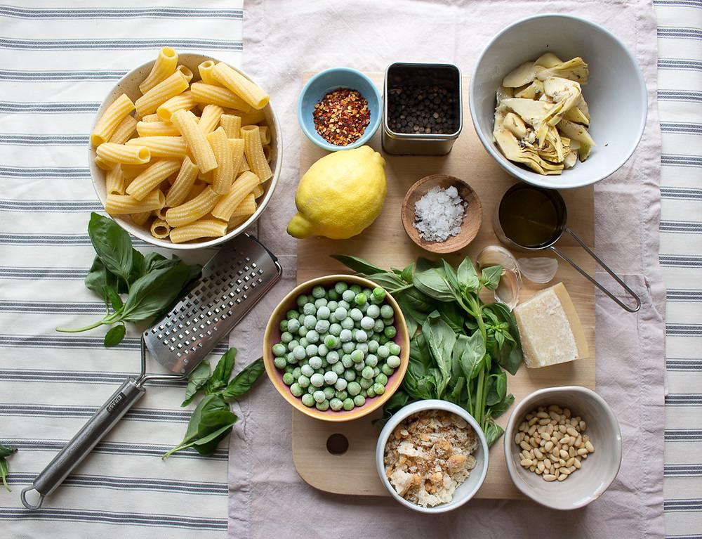 Ingredients for Artichoke & Pea Tortiglioni