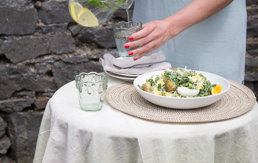 New Potato, Green Bean & Egg Salad with Basil Pesto