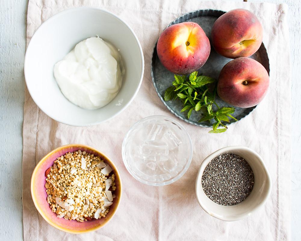 Ingredients for Peach & Yogurt Breakfast Bowls