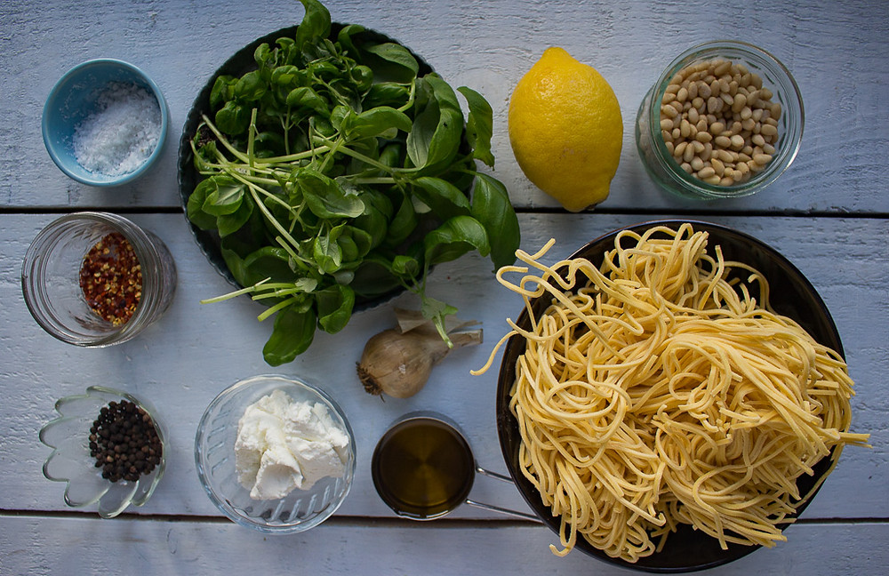 Pesto Spaghetti with Goat's Cheese