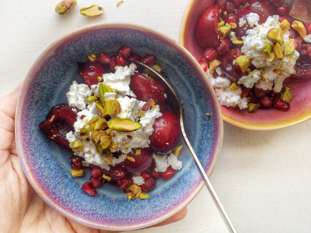 Keep your dessert game simple with these cherry & pomegranate bowls