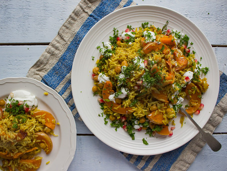 BUTTERNUT SQUASH PILAF WITH YOGURT AND POMEGRANATE