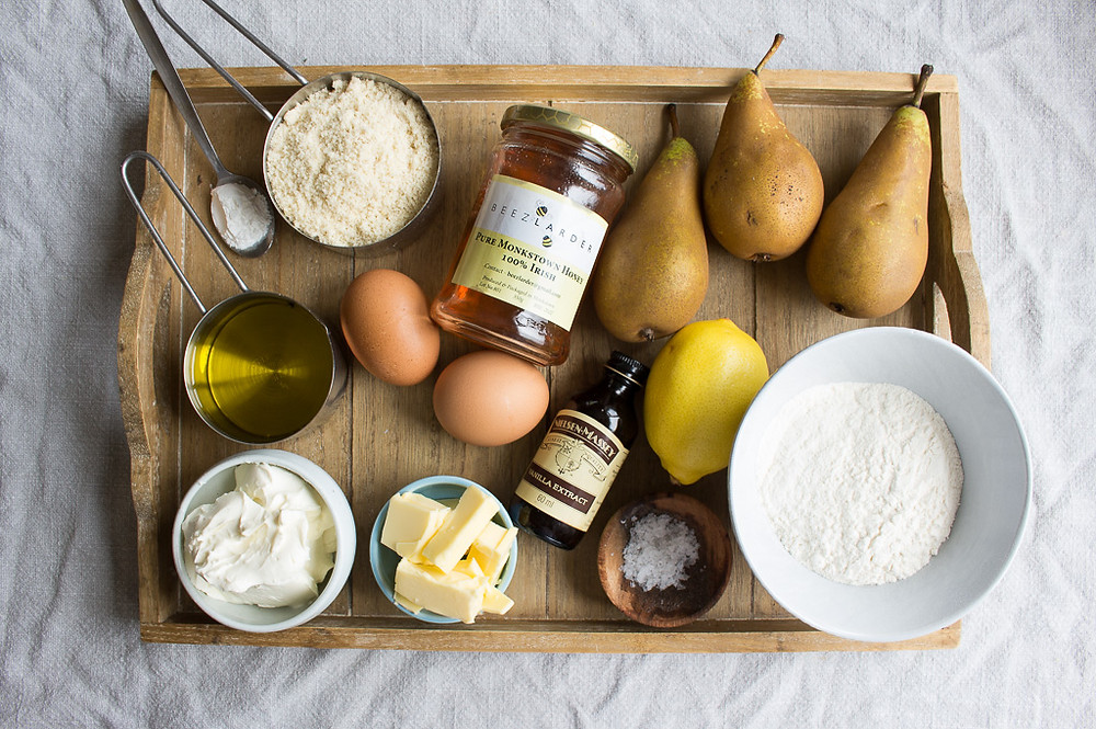 Picture of ingredients for Pear, Almond & Honey Cake
