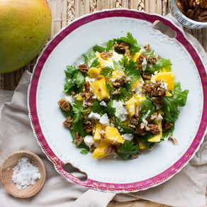 MANGO & GOAT'S CHEESE SALAD WITH MAPLE CANDIED PECAN NUTS