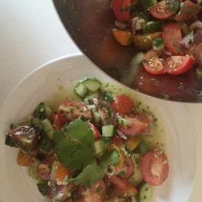 Recipe: Tomato, Cucumber and Red Onion Salad with a Coriander Dressing